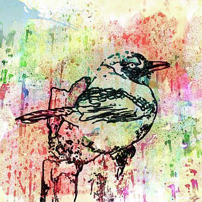 Whimsical Drawings Mixed Media - Whimsical Tit Bird by Georgiana Romanovna