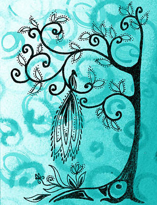Royalty-Free and Rights-Managed Images - Whimsical Tree And Magical Bird by Irina Sztukowski