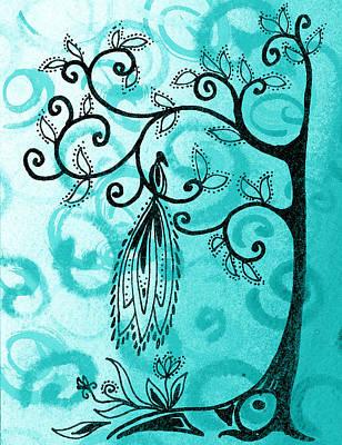 Brunch Painting - Whimsical Tree And Magical Bird by Irina Sztukowski