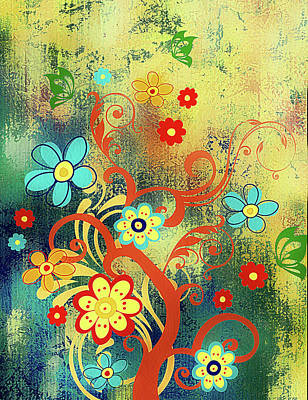 Tree Art Mixed Media - Whimsical Tree Of Happiness by Georgiana Romanovna