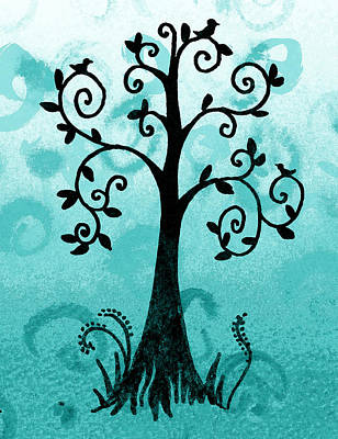 Royalty-Free and Rights-Managed Images - Whimsical Tree With Birds by Irina Sztukowski