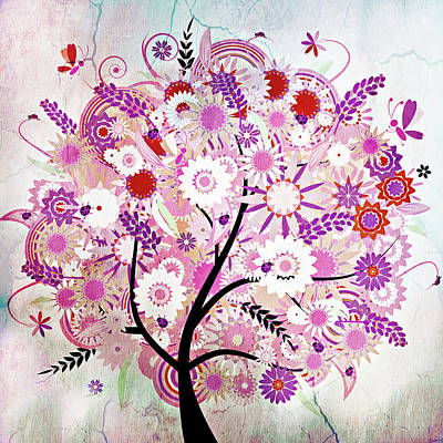 Mixed Media - Whimsical Vintage Tree With A Tale To Tell by Georgiana Romanovna