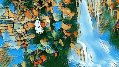 Painting - Whimsical Waterfall  by Ally White