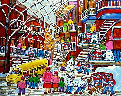 Whimsical Winter Wonderland Snowy School Bus Montreal Story Book Scene Hockey Art Carole Spandau     Print by Carole Spandau