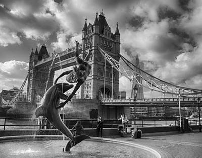 Photograph - Whimsy At Tower Bridge In Black And White by Leah Palmer