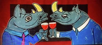 Rhinocerus Wall Art - Painting - Whinoes by Stuart Jefka