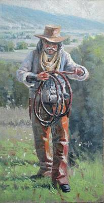 Rawhide Painting - Whip-cracker by Michael Joseph Walsh