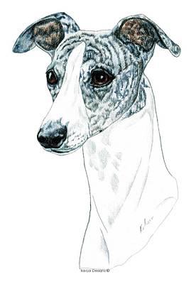 Whippet, Brindle Art Print by Kathleen Sepulveda
