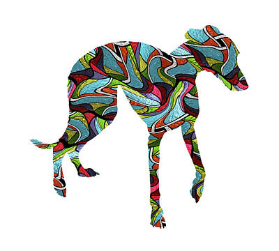 Whippet Digital Art - Whippet Spirit Glass by Gregory Murray