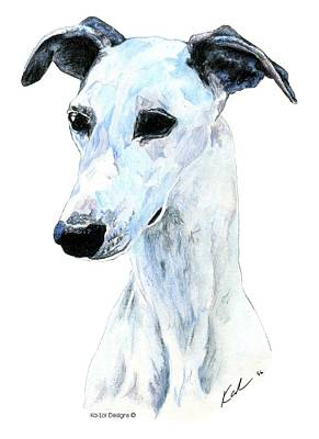 Dog Art Painting - Whippet, White by Kathleen Sepulveda