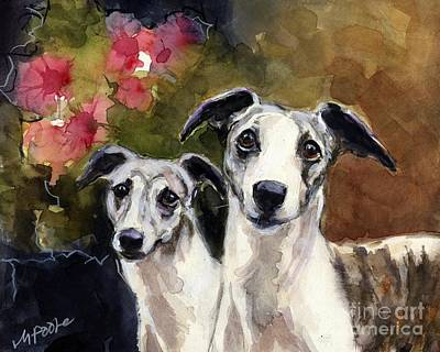Whippet Painting - Whippets by Molly Poole