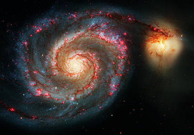 Hubble Space Telescope Photograph -  Whirlpool Galaxy  And Companion Galaxy by Mark Kiver