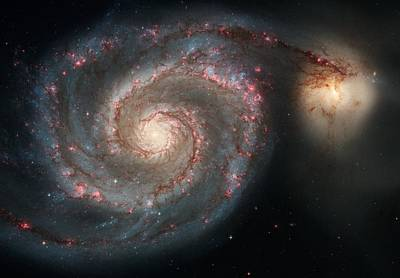 Hubble Telescope Painting - Whirlpool Galaxy And Companion  by Hubble Space Telescope