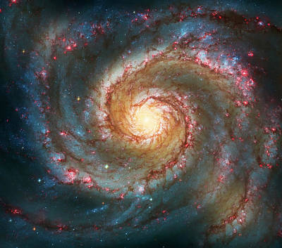 Hubble Space Telescope Photograph - Whirlpool Galaxy  by Jennifer Rondinelli Reilly - Fine Art Photography