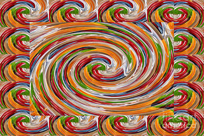 Metal Sheet Mixed Media - Whirlwind Wave Using Fruit Colors See On Tote Bags Shower Curtains Duvet Covers N Greeting Cards by Navin Joshi