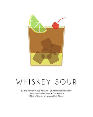 Food And Drink Mixed Media - Whiskey Sour Classic Cocktail Minimalist Print by Studio Grafiikka