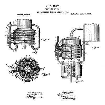 Irish Ale Drawing - Whiskey Still 1906 by Bill Cannon