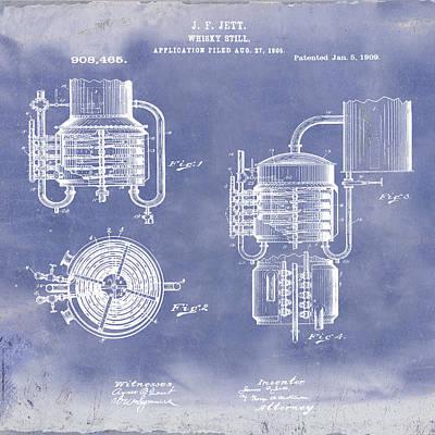 Irish Ale Drawing - Whiskey Still 1906 In Blue Grunge by Bill Cannon