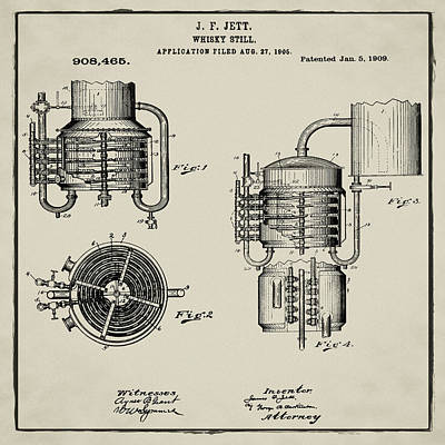 Irish Ale Drawing - Whiskey Still 1906 In Tan by Bill Cannon