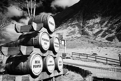 Whisky Barrels Outside The Clachaig Inn Glencoe Highlands Scotland Uk Print by Joe Fox