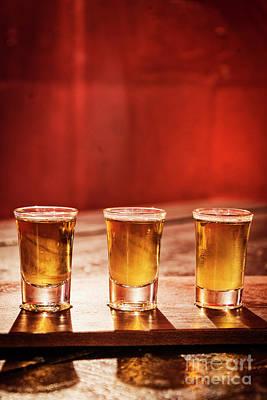 Photograph - Whisky Shots In Cozy Bar Interior by Jacek Malipan