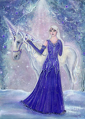 Unicorn Art Painting - Whisper And Winterflower Unicorn by Renee Lavoie