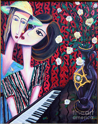 Lady Playing Piano Painting - Whisper by Masoud Farshchi