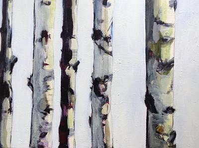 Birch Tree Painting - Birch Trees Paintings by Marjorie Alger