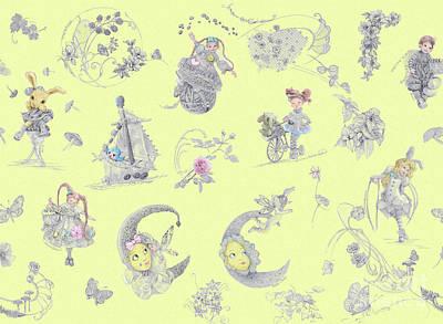 Daydreams Art Drawing - Whispering Daydreams In Soft Yellow by Nancy Lee Moran