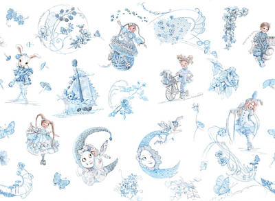 Whispering Daydreams Toile De Jouy In Blue And Brown Original