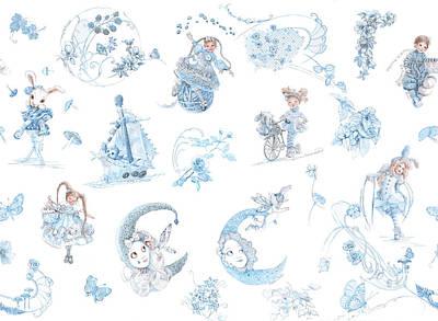 Whispering Daydreams Toile De Jouy In Blue And Brown Original by Nancy Lee Moran