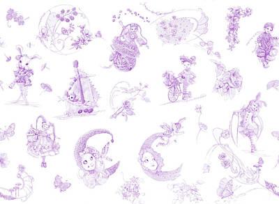 Daydreams Art Drawing - Whispering Daydreams Toile De Jouy In Lavender by Nancy Lee Moran