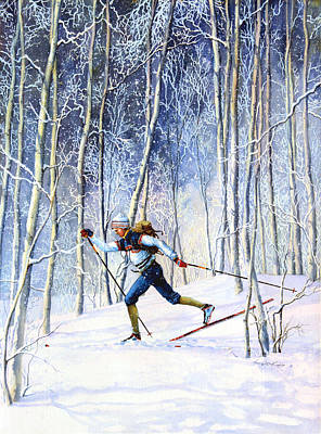 Skiing Action Painting - Whispering Tracks by Hanne Lore Koehler