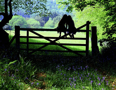 Little Sister Photograph - Best Friends On A Farm Gate In Devon by Maggie McCall