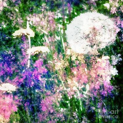 Dandelion Clocks Digital Art - Whispy Garden by YoursByShores Isabella Shores
