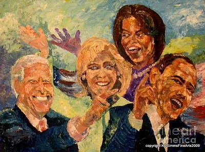 Michelle Obama Painting - Whistle Stop Tour Usa 2008 by Keith OBrien Simms