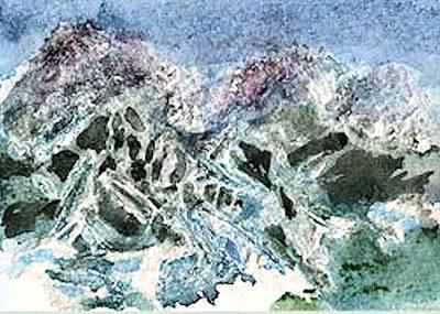 Ski Run Painting - Whistler Mt Bc by Kathryn Elliget