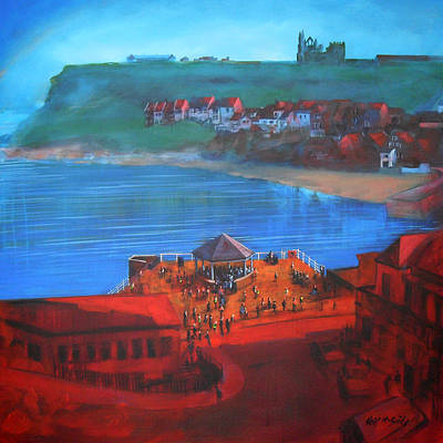 Destination Painting - Whitby Bandstand And Smokehouses by Neil McBride