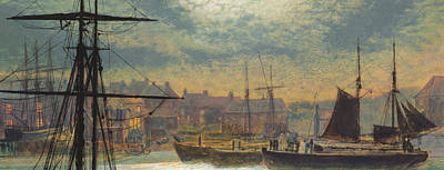 Masted Ship Painting - Whitby By Moonlight by John Atkinson Grimshaw