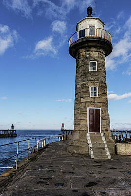 Whitby East Pier Lighthouse Art Print by Keith Sayer