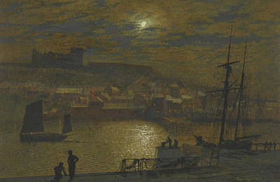Whitby From Scotch Head Moonlight On The Esk Art Print by John Atkinson Grimshaw