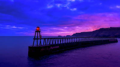 Photograph - Whitby Harbor Sunset by Tim Hill