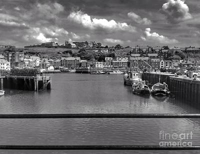 Photograph - Whitby Harbour 2 In Black And White by Joan-Violet Stretch