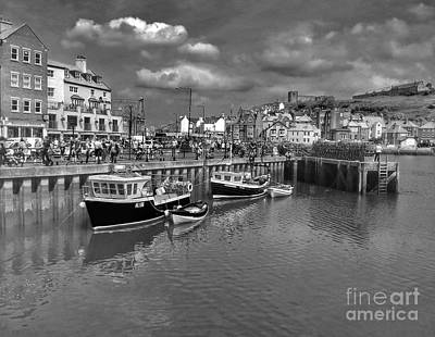 Photograph - Whitby Harbour In Black And White by Joan-Violet Stretch