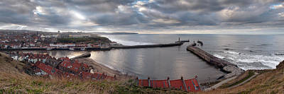 Photograph - Whitby Harbour Panorama by Gary Eason