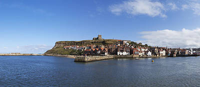 Photograph - Whitby Harbour With Abbey Ruins by Gillian Dernie