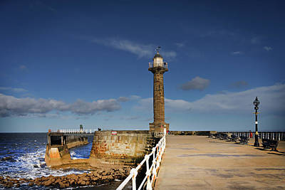 Piers Wall Art - Photograph - Whitby Lighthouse by Smart Aviation