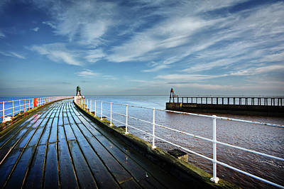 Town Photograph - Whitby Piers by Nichola Denny