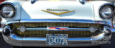 Photograph - white '57 Chevy grill by Mark Spearman