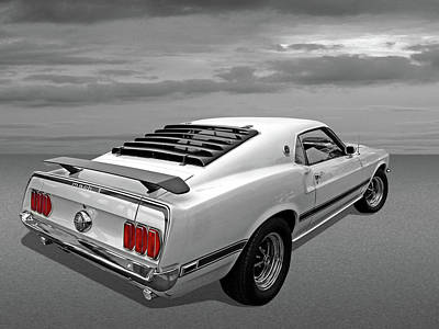 Photograph - White '69 Mach 1 In Black And White by Gill Billington
